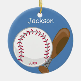 Los niños personalizaron béisbol y el palo adorno navideño redondo de cerámica