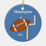 Los niños personalizaron el recuerdo del fútbol ornamento de navidad