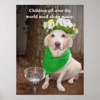 Los niños por todo el mundo necesitan el agua póster