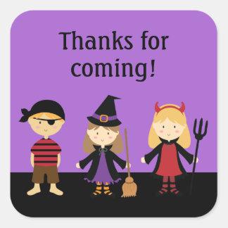 Los niños púrpuras de Halloween le agradecen Pegatina Cuadrada