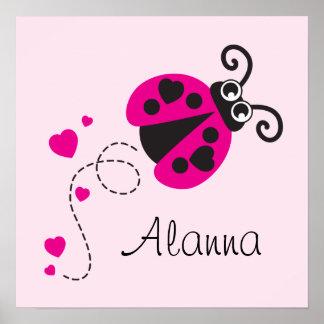 Los niños rosados lindos de la mariquita del vuelo póster