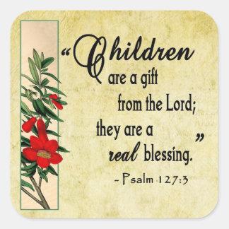 Los niños son bendición real pegatina cuadrada