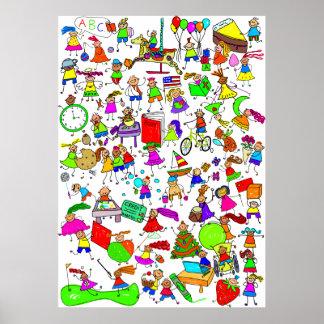 Los niños son gran figura linda montaje del palill poster