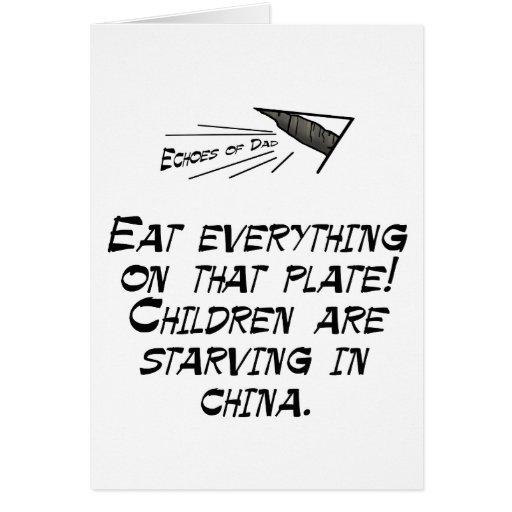 Los niños son muertos de hambre tarjeta de felicitación