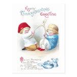 Los niños tiran en acción de gracias gigante del v tarjeta postal