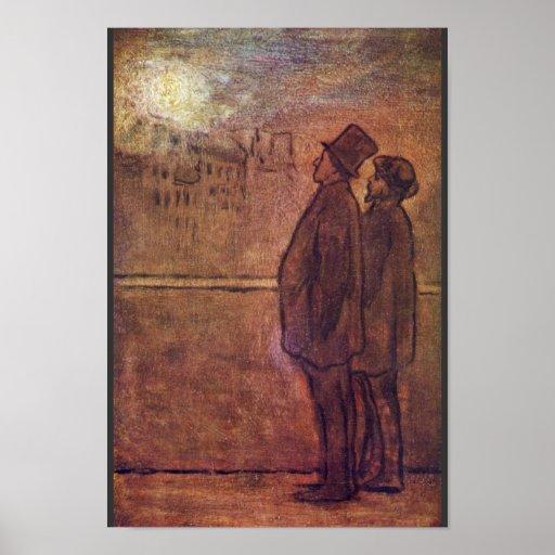 Los noctámbulos de Daumier Honoré Poster