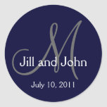 Los nombres 2011 del boda del monograma ahorran al pegatina redonda