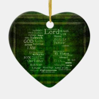 LOS NOMBRES DE DIOS enumerados Adorno Navideño De Cerámica En Forma De Corazón