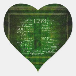 LOS NOMBRES DE DIOS enumerados Pegatina En Forma De Corazón