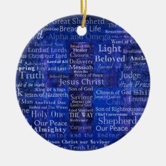 Los nombres del arte cruzado azul del Jesucristo Adorno Navideño Redondo De Cerámica