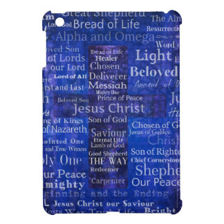 Los nombres del arte cruzado azul del Jesucristo iPad Mini Fundas