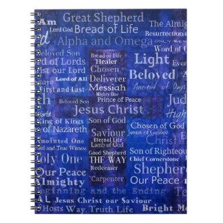 Los nombres del arte cruzado azul del Jesucristo Cuaderno