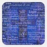Los nombres del arte cruzado azul del Jesucristo Calcomania Cuadrada Personalizada
