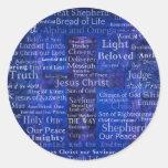 Los nombres del arte cruzado azul del Jesucristo Etiqueta Redonda
