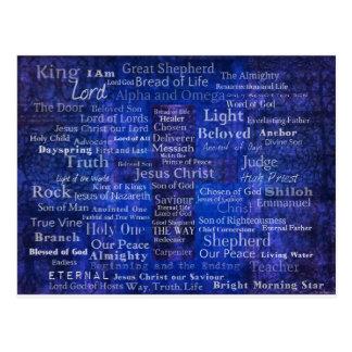 Los nombres del arte cruzado azul del Jesucristo Tarjeta Postal