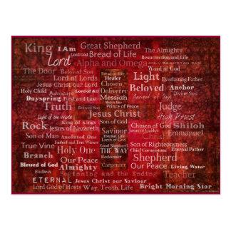 Los nombres del Jesucristo de la biblia Tarjetas Postales