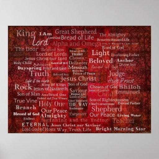 Los nombres del Jesucristo del ARTE de la biblia Posters