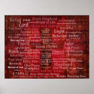 Los nombres del Jesucristo del ARTE de la biblia Póster