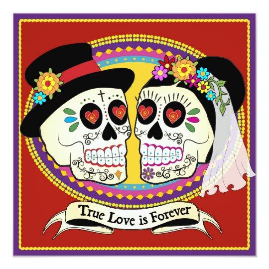 Los Novios Square Wedding Invitation (English)