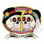 Los Novios Sugar Skull Cake Topper (Spanish) Standing Photo Sculpture