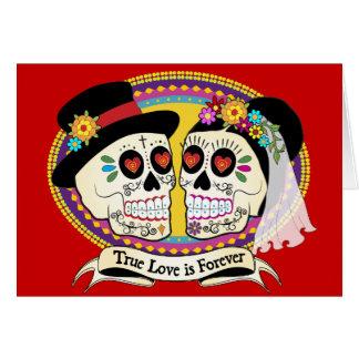 Los Novios Sugar Skull Card (English)