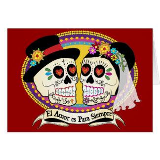 Los Novios Sugar Skull Card (Spanish)