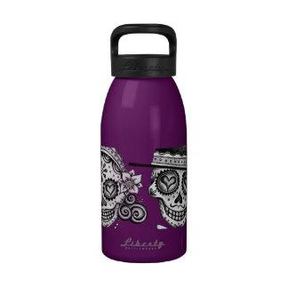 Los Novios Sugar Skull Couple Water Bottle Reusable Water Bottle