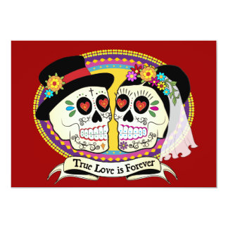 Los Novios Sugar Skull Invitation (English)