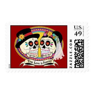 Los Novios Sugar Skull Postage (English)