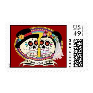 Los Novios Sugar Skull Postage (Spanish)