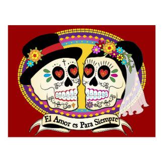 Los Novios Sugar Skull Postcard (Spanish)