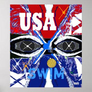 Los nuevos 2013 E.E.U.U. frescos que nadan el Póster
