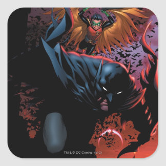 Los nuevos 52 - Batman y petirrojo #1 Pegatina Cuadrada
