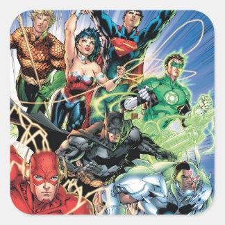 Los nuevos 52 - liga de justicia #1 pegatina cuadrada