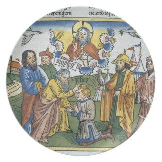 Los números 27 18-23 Moses ponen su mano sobre Jos Platos Para Fiestas