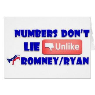 Los números no mienten a diferencia de Romney/de R Tarjeta De Felicitación