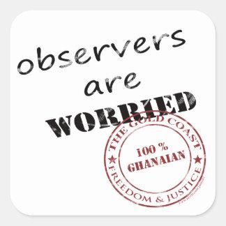 los observadores son preocupantes pegatina cuadrada