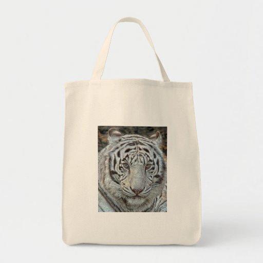 Los oídos blancos del tigre apoyan cerca encima de bolsa