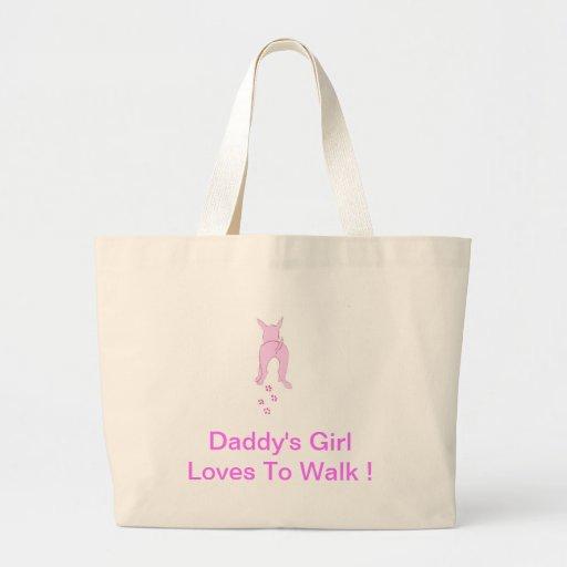 Los oídos de perro rosados suben al chica del papá bolsas de mano
