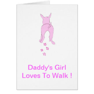 Los oídos de perro rosados suben al chica del papá tarjeta de felicitación