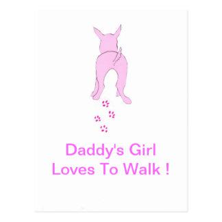 Los oídos de perro rosados suben al chica del papá postales