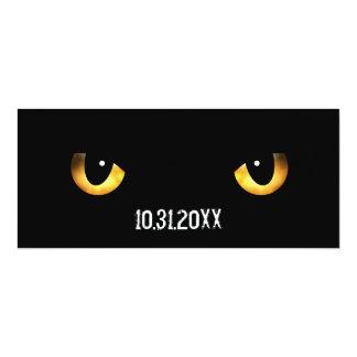 """Los ojos de gato asustadizos de Halloween Invitación 4"""" X 9.25"""""""