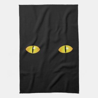 Los ojos de gato fantasmagóricos Halloween Toallas De Cocina