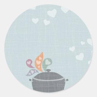 Los olorcillos preciosos que cocinan el pote aman etiqueta redonda