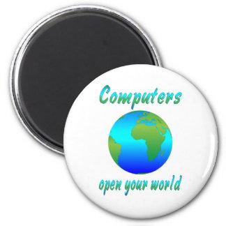 Los ordenadores abren los mundos imán redondo 5 cm