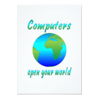"""Los ordenadores abren los mundos invitación 5"""" x 7"""""""