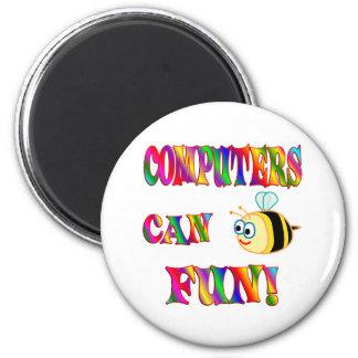 Los ordenadores son diversión imán redondo 5 cm
