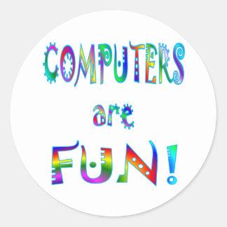 Los ordenadores son diversión pegatina redonda