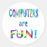 Los ordenadores son diversión pegatinas redondas