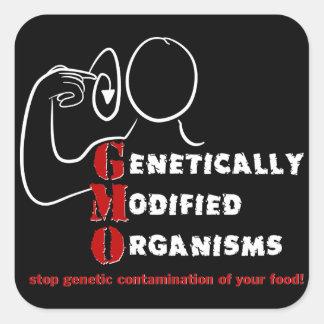 Los organismos genético modificados de GMO están Pegatina Cuadrada